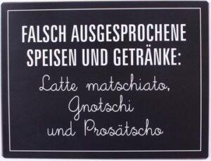 """Metallschild """"Falsch ausgesprochene Speisen und Getränke:..."""""""