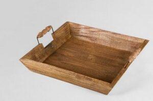 Holz Tablett eckig, mit Griffen, braun