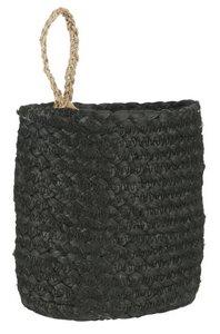 Korb schwarz mit Henkel natur oval
