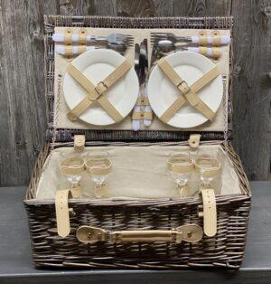 Picknick-Koffer gefüllt für 4 Personen mit Lederverschluss