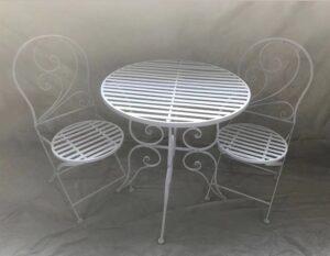 Tisch Metall rund weiss