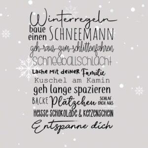 """Serviette """"Winterregeln"""""""